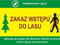 Nadleśnictwo Lipusz - zakaz wstępu do lasów na obszarze Gminy Parchowo i Lipusz